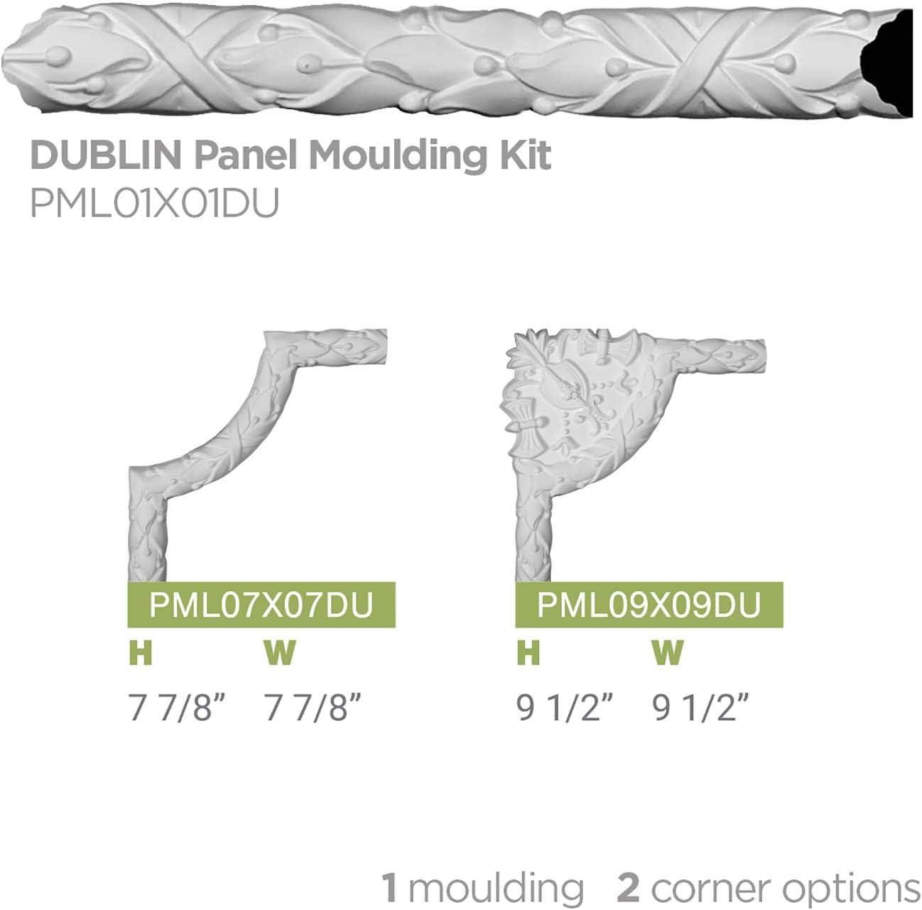 1 3//8H x 3//4P x 94 1//2L Factory Primed Ekena Millwork Dublin PML01X01DU-CASE-12 Panel Moulding 12 Piece 12-Pack