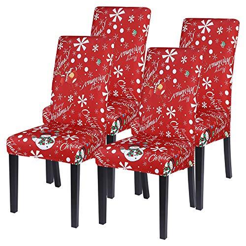 Shujin Universal Stretch Weihnachten 2/4/6er Set Stuhlhussen Abnehmbare Stuhlbezug Stuhl Esszimmer überzug Stuhlüberzug Abdeckungen Hussen für Husse Hotel Party Bankett