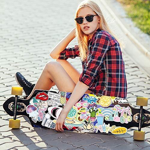 SwirlColor Vsco Sticker, Niedlich Vsco Aufkleber 81 Formen Multicolor Wasserdicht Coole Aufkleber für Laptop-Flasche Skateboard Koffer Telefon Kühlschrank Gitarre, mit 1 Stück Zufällige Farbe Schaber