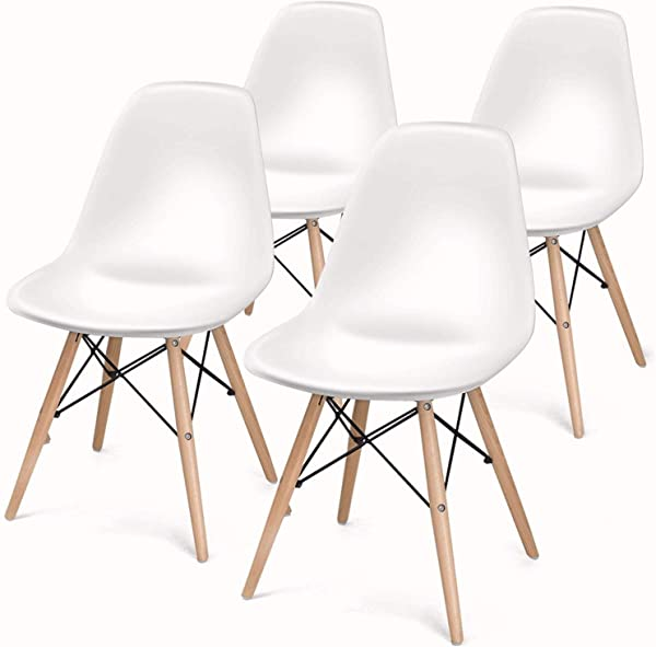 Mlfyho Mlfyho Dining Chair Mid Century Modern Pre Assembled Chair Shell Lounge Plastic Chair For Kitchen Living Room Side Chairs Set Of 4 White