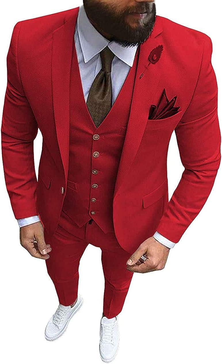 Aimicui Formal Men's Suit Regular Fit 3 Piece Solid Prom Tuxedos Business Suits Set for Wedding Grooms (Blazer+Vest+Pants)