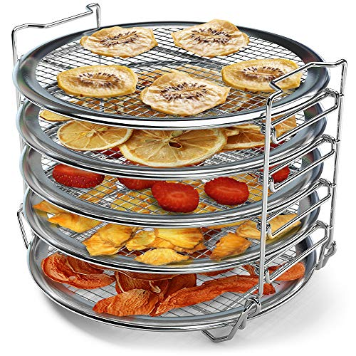 Dehydrator Rack for 6 qt 8 qt Instant Pot Air Fryer Lid, Instant Pot Vortex 10 qt Air Fryer Oven, Compatible Instant Pot Accessories Rack for Jerky, Fruits (7.7 in Diameter x 5.7 in Height)