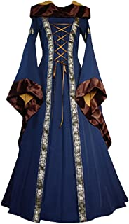 Womens Medieval Renaissance Lace Up Retro Gown Cosplay Costumes Long Dress