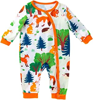 TOOGOO Baby Cotton Clothing 0-2 Years Old Baby Long Sleeve Cartoon Fox Print Overalls Baby Clothes Romper, 6-12M