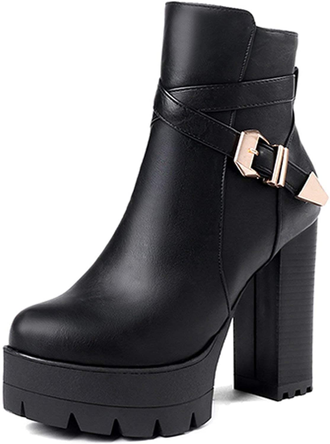 Summer-lavender Autumn Platform Ankle Boots Woman Black Leather shoes High Heels Boots shoes for 34-43