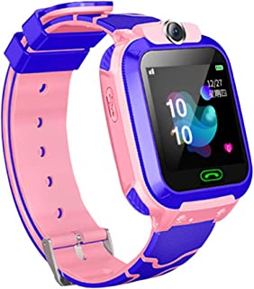 JinJin Kids smartwatch Phone Watches for Children with Tracker sim Card sos Anti-Lost Call Boys and Girls Birthday Compatible Android iOS Touch Screen Voice Chat Remote Camera (B, pink)