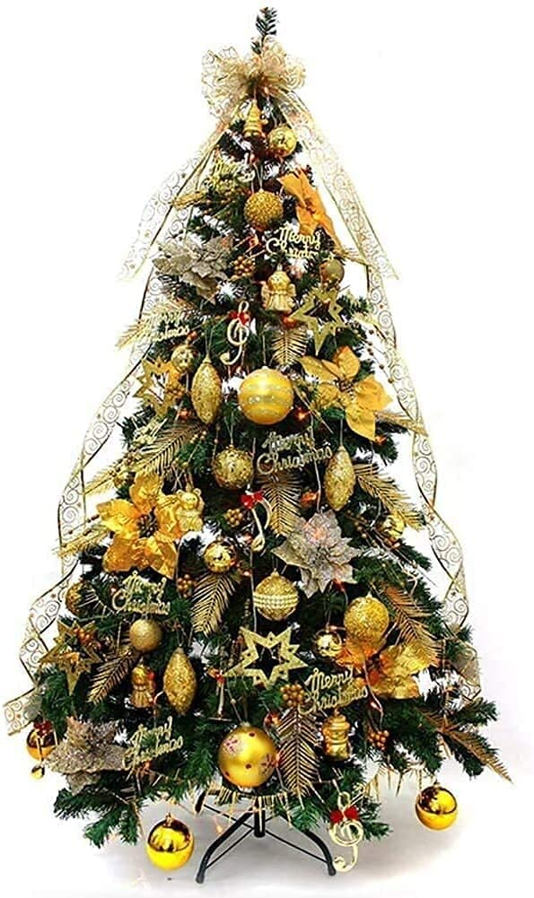 christmas trees With Gold Ornaments Great interest Stand Hinged 4 years warranty 230 Metal Tips
