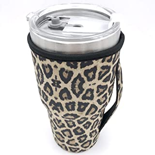 Bottle Sleeve Leopard Print Rainbow Sunflower Water Neoprene Insulated Sleeve Bottle Cover Pouch for 30oz Tumbler Cup (Only Cup sleeves) (Leopard)