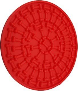 Buddy Treat Mat Pet Bath Distraction Device Grooming Training Dog Licking Mat,Red,5.9x5.9inch