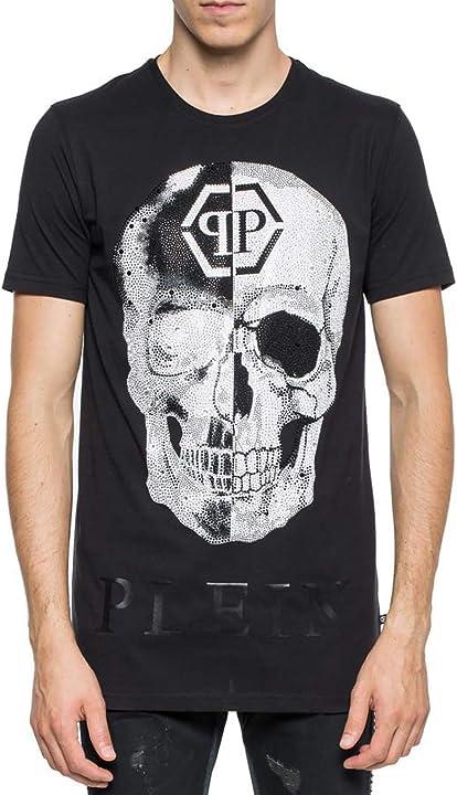Maglietta girocollo con taglio nero philipp plein MTK2504-PJY002N