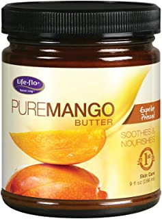 Life-flo Pure Mango Butter | Soothing Moisturizer for Dry Skin & Hair, Lips & DIY Products |Expeller Pressed | 9oz