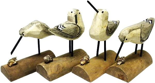 DEI Beach Carved Wooden Seagull SANDPIPER Sand Piper BIRDS Set Of 4 6 H Multicolor