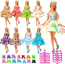 Miunana 30 pcs Doll Clothes and Accessories for 11.5 inch Girl Doll 10 pcs Fashion Mini Doll Skirt+ 10 Doll Shoes + 10 Hanger for 11.5 inch Doll Clothes Handmade Short Party Dress Costume