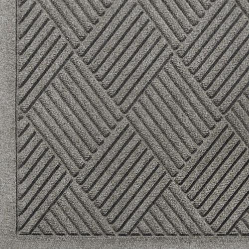 WaterHog Fashion Diamond-Pattern Commercial Grade Entrance Mat, Indoor/Outdoor Medium Brown Floor Mat 4' Length x 3' Width, Medium Grey by M+A Matting