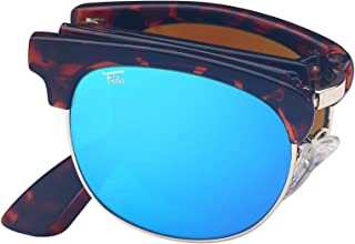 Foldies Polarized Folding Browline Sunglasses With Premium Cleaning Cloth and Leather Case