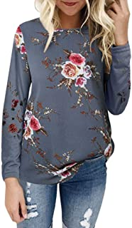 Women's Casual Round Neck Tops, Floral Print T-Shirt Top, Soft Lightweight Chiffon Long Sleeve/Short Sleeve Tops Blouse