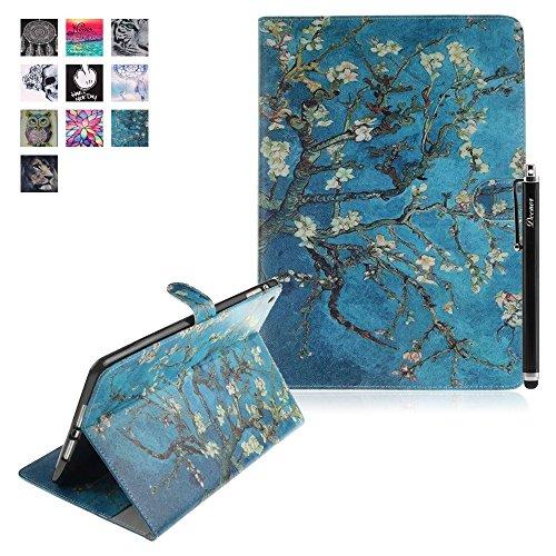 iPad Mini Case, iPad Mini Retina Cover, Deenor Colorful Painting PU Leather Folio Case Protective Stand Smart Case Cover For Apple iPad Mini 1/iPad Mini 2/ iPad Mini 3. [Branches and Flowers]