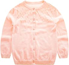 KASULAR Baby Girl Sweater Cardigan Pure Color,O-Neck,Button Up,Knitted Coat for Infant Toddler Kids Girl 1-5T Spring