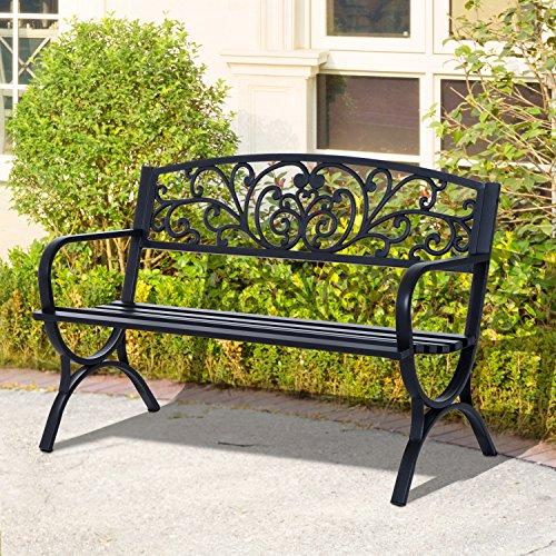 Outsunny® Gartenbank Sitzbank Bank Metall Gartenmöbel 2-Sitzer Schwarz 2 Module (Modell 1) - 2