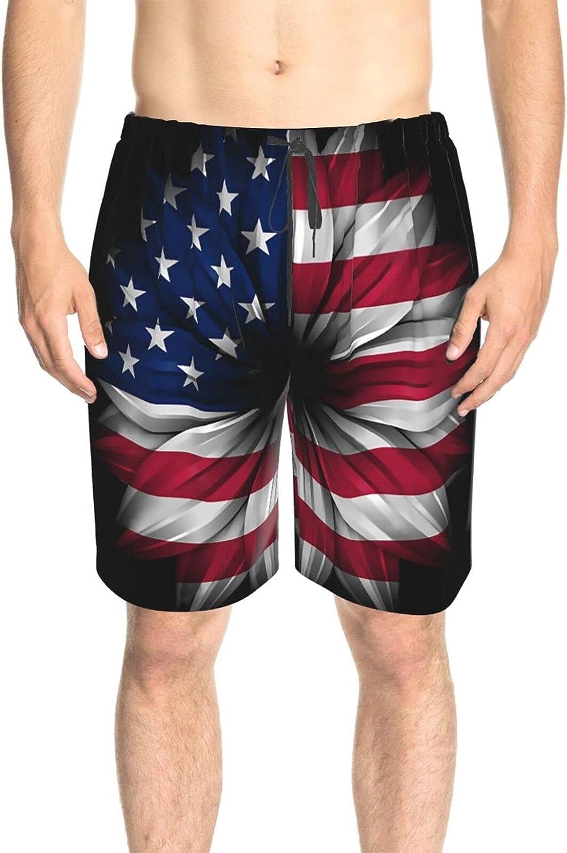 JINJUELS Mens Swim Trunks USA Flag Flower Bathing Suit Boardshorts Drawstring 3D Printed Board Shorts Swimwear with Liner