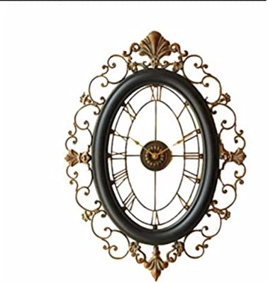 Imoerjia European Clocks Wall Clock Living Room Large Iron Art Creative Wall Clock Antique Clock Wall