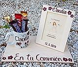Regalo de comunión niña personalizado con el nombre en la taza y el marco 10x15cm y la fecha