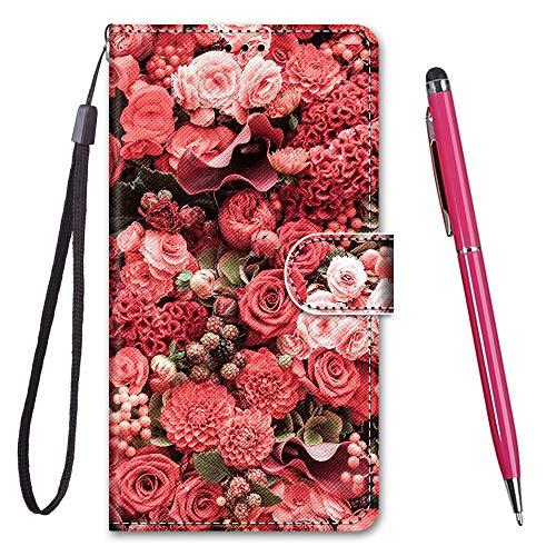 TOUCASA für Galaxy J4 Core Hülle, Handyhülle für Galaxy J4 Core,Premium Brieftasche PU Leder Flip [Kreativ Gemalt] Hülle Handytasche Klapphülle für Samsung Galaxy J4 Core (Rosengarten)