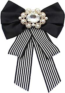 ABOOFAN Big Bow Tie Ribbon Brooch Rhinestone Crystal Ladies Girl Bowknot Bow Tie Suit Shirt Tie Pins Necktie Jabot Collar ...