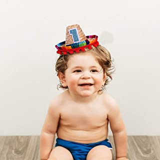 Mini Sombrero Hats for 1st Birthday - Fiesta Cupcake Toppers for Mexican Party Decorations, First Birthday Hat for Uno Party, Fiesta Party Supplies (Mini Sombrero Hats)