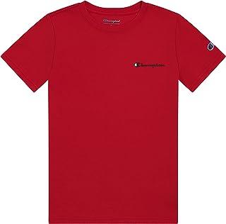 Champion Boys Short Sleeve Tee Shirt Chest Script Big and Little Boys Top (Scarlet, 7, Numeric_7)