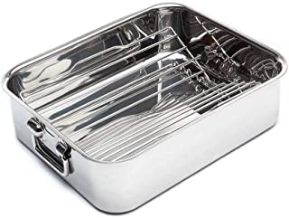 Jean-Patrique Cookware Non Stick Deep Roasting Tray | Stainless Steel Rack | Professional Kitchen Oven Safe Chef Rack - 40 cm