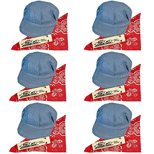 Funny Party Hats Train Conductor Dress Up Set - Hat, Whistle, and Bandana (6 per Package)
