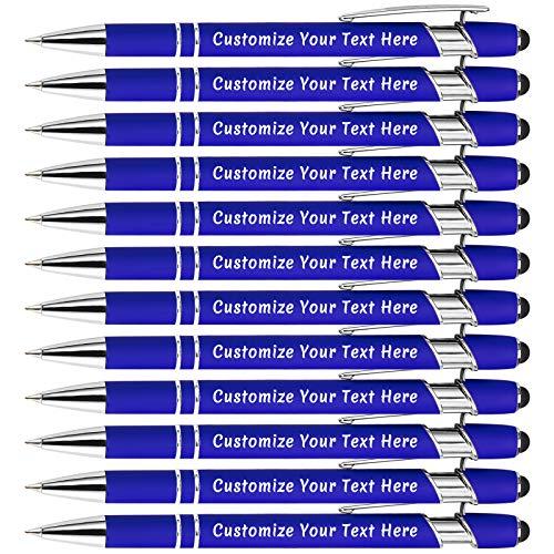 Bolígrafos Personalizados,Bolígrafos Personalizables 12 Piezas, Metal Suave Al Tacto, Introduzca El Nombre, El Logotipo o El Mensaje,Ideal Para Cumpleaños, Aniversarios, Graduaciones (Tinta Negra)