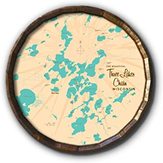 Three Lakes Chain Wisconsin Vintage-Style Map Art on 21