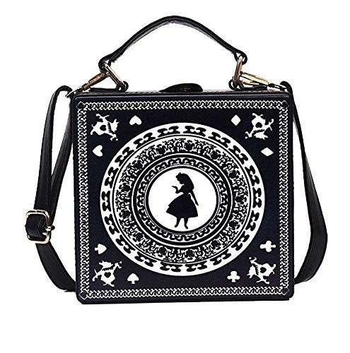 Nite closet Gothic Purses and Handbags Lolita Alice Satchel Shoulder Bag (Black)