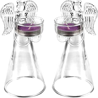 2 Pcs/set Elegant Angel Designed Glass Candle Holder, Tea Light Holders Decorative for Valentine's Day, Wedding Candle Centerpiece for Tables, Party Dinner Coffee Candle Light Decor (Angel Shape)