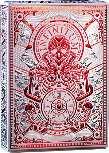 Infinitum Ghost White & Red Playing Cards, Deck of Cards with Free Card Game eBook, Premium Card Deck, Cool Poker Cards, Unique Bright Colors for Kids & Adults, Card Decks Games, Standard Size