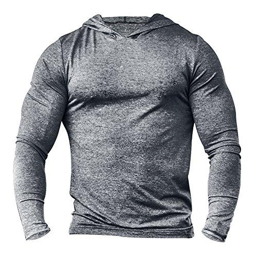 Alivebody Herren Bodybuilding Tapered Langarm Slim Fit Sweat-Shirt Muskel Hoodie Grau meliert L
