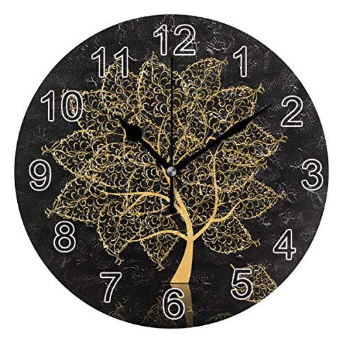 Gokruati Reloj de Pared silencioso,Reloj de Cocina,Relojes de Cuarzo silencioso Que no Hace tictac,para Sala de Estar,dormitorios,(Diámetro: 25 cm),Golden Tree Life of Tree