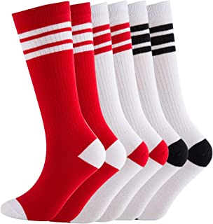 Knee High Tube Socks Comfortable and Breathable with Triple Stripes for Boys, Girls, Toddlers, Kids, Baby and Child