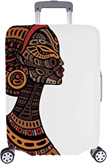 African Simple Luggage Cover,Tribal Exotic Beauty Woman Figure with Traditional Mask Totem Illustration Decorative for Home,S