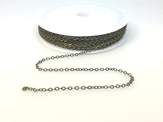 Small Link Chain 2.1x1.7mm Dangling Chain Brass Material 32 Feet Pack Bronze Plated in 7 Colors