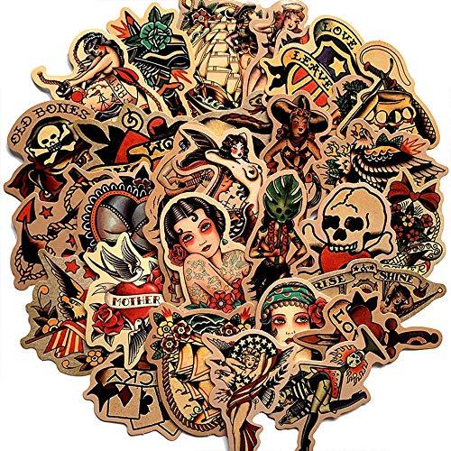BLOUR 50 Uds Retro Vieja Escuela Tatuaje Estilo Pegatina refrigerador monopatín Carro calcomanías Mochila mesas Impermeable PVC Pegatina