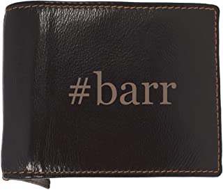 #barr - Soft Hashtag Cowhide Genuine Engraved Bifold Leather Wallet