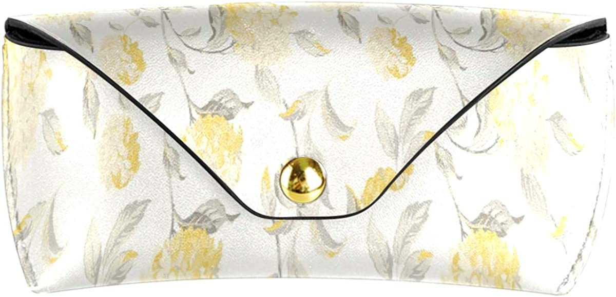 Golden Floral Flower Pattern Sunglasses Case Eyeglasses Pouch PU Leather Multiuse Portable Goggles Bag gift