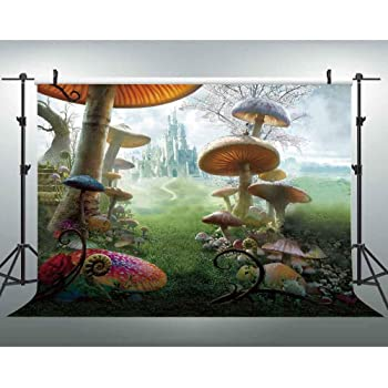 7x10 FT in Wonderland Vinyl Photography Background Backdrops,Alice Reading Book Cat Colorful World Happiness Love Character Image Background for Selfie Birthday Party Pictures Photo Booth Shoot
