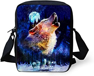 HUGS IDEA Wolf Print Small Shoulder Messenger Bags Animals Mini Crossbody Handbag Travel Portable Cellphone Pouch Purse Wallet
