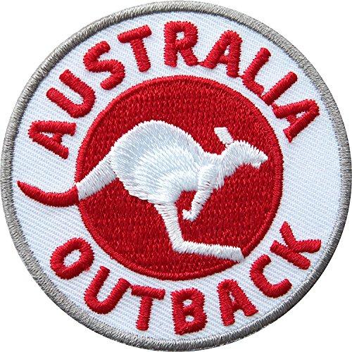2 x Australien Abzeichen gestickt 60 mm / Australia Outback / Outdoor Reise Känguru / Applikation Aufnäher Aufbügler Flicken Bügelbild Patch für Kleidung Rucksack / Reiseführer Landkarte Buch Karte