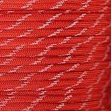 Paracaídas Planeta mil-Spec Comercial Grado 550lb Tipo III Nylon Paracord Reflectante Tracer o Brilla en la Oscuridad Tracer Colores, Imperial Brillo Rojo EN LA Oscuridad