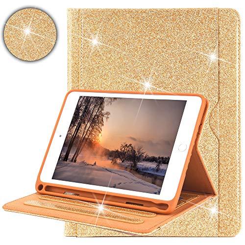 Capa Billionn Bling para novo iPad Mini 5 8,9 polegadas 2019 com suporte para lápis Auto Wake/Sleep Universal Apple iPad Mini 5 e Mini 4/3/2/1, Glitter Dourado